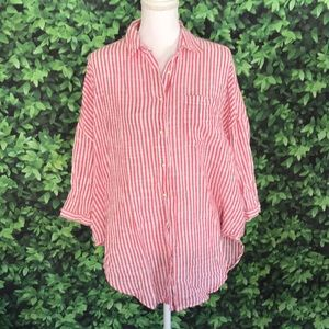 Anthro holding horses XS S striped relaxed blouse